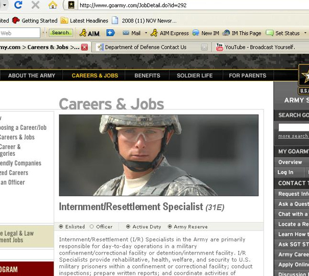 Army job 'internment specialist'